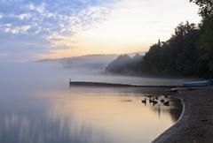 Foggy Aunrise on Eighth Lake Stock Photos