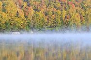 Stock Photo of Autumn fog on Adirondacks lake