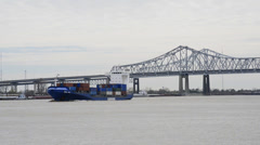 Container Ship On Mississippi River - New Orleans - LA Stock Footage