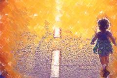 Child on the road Stock Illustration