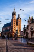 view at st. mary's gothic church, famous landmark in krakow, poland. - stock photo