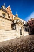 wawel cathedral - famous polish landmark on the wawel hill in cracow - stock photo
