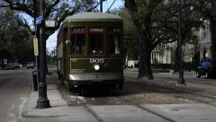 New Orleans St Charles Trolley Approaching Stock Footage