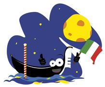 Funny Venetian Gondola Stock Illustration