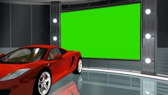 Virtual studio background with green screen video wall and sport car Stock Footage