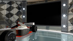 Virtual studio background with green screen wall and F1 racing car Stock Footage