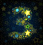 Number 3 cartoon star colored - stock illustration
