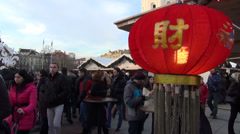 Chinese motifs brand at christmas festival market and people Stock Footage