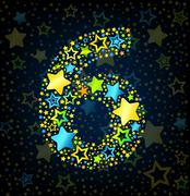 Number 6 cartoon star colored - stock illustration