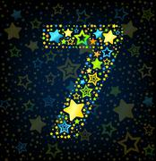 Number 7 cartoon star colored - stock illustration