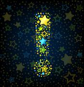 Exclamation mark cartoon star colored - stock illustration