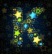 Letter K cartoon star colored - stock illustration