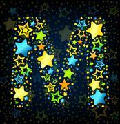 Letter M cartoon star colored - stock illustration