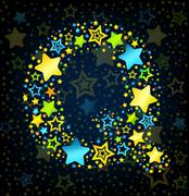Letter Q cartoon star colored - stock illustration