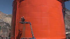 0905 Industrial works in oil plant - stock footage