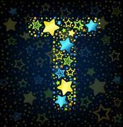 Letter T cartoon star colored Stock Illustration