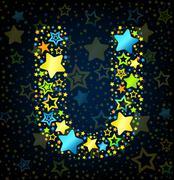 Letter U cartoon star colored Stock Illustration