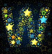 Letter W cartoon star colored - stock illustration