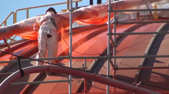 0908 Industrial works in oil plant Stock Footage