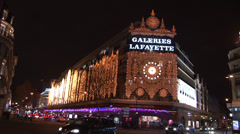 Paris - France - Night - Galeries Lafayette - Christmas lights Stock Footage