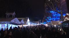Paris - France - Night - Christmas - Avenue des Champs-Élysées - HD Stock Footage