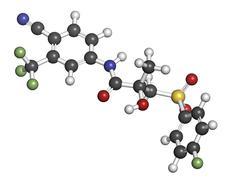 Bicalutamide prostate cancer drug (anti-androgen), chemical structure. Stock Illustration