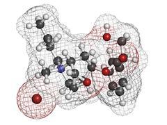 butylscopolamine (butylhyoscine) bromide abdominal and menstrual cramps drug, - stock illustration