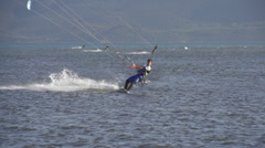 SLOW MOTION: kiteboarding on Adriatic see - stock footage