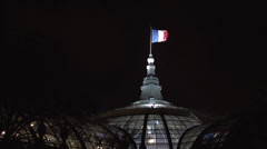 Stock Video Footage of Paris - France - Night - French flag blowing - HD