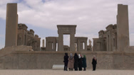Stock Video Footage of Iranian tourists look at Persepolis remains, tourism Iran, group, women