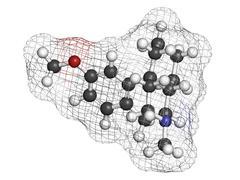 dextromethorphan cough suppressant drug (antitussive), chemical structure. - stock illustration