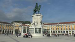 Stock Video Footage of Triumphal Arch & Statue of King José I, Praça do Comércio, Lisbon, Portugal.