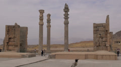 Iran, tourists visit Persepolis complex, ancient capital Stock Footage