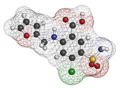 Furosemide diuretic drug, chemical structure. medically used to treat hyperte Stock Illustration