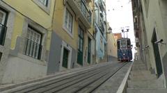 The Elevador da Bica (with audio), a Lisbon funicular, Lisbon, Portugal. Stock Footage