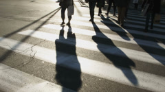 0201 People at a cross walk in town Stock Footage