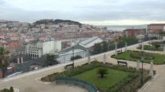 View over Lisbon, Portugal from the Garden of San Pedro de Alcantara. Stock Footage