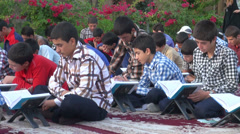 Iran, Quran reading, religion, students, Islam Stock Footage