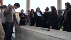 Iran, pilgrims pay tribute to Hafez at tomb Stock Footage