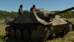 German tank drives close - stock footage