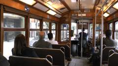 Inside a Lisbon tram on Line 28, Lisbon, Portugal. Stock Footage