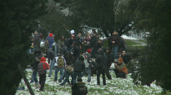 Rome in snow 43 (snow ball fight) Stock Footage