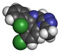 triazolam insomnia drug (sleeping pill, benzodiazepine class), chemical struc - stock illustration