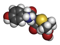 amoxicillin beta-lactam antibiotic drug, chemical structure. - stock illustration