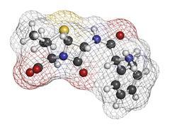 ampicillin beta-lactam antibiotic drug, chemical structure. - stock illustration