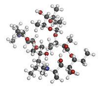 Stock Illustration of azithromycin antibiotic drug (macrolide class), chemical structure.