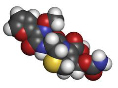 Cefuroxime second generation cephalosporin antibiotic, chemical structure. Stock Illustration