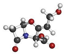 Clavulanic acid beta-lactamase blocker drug, chemical structure. often combin Stock Illustration