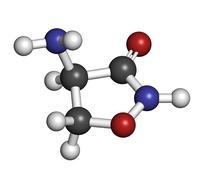 Sykloseriini (d-cycloserine) tuberkuloosin huumeiden, kemiallinen rakenne. Piirros