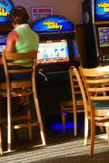 Video poker games in lounge Stock Photos